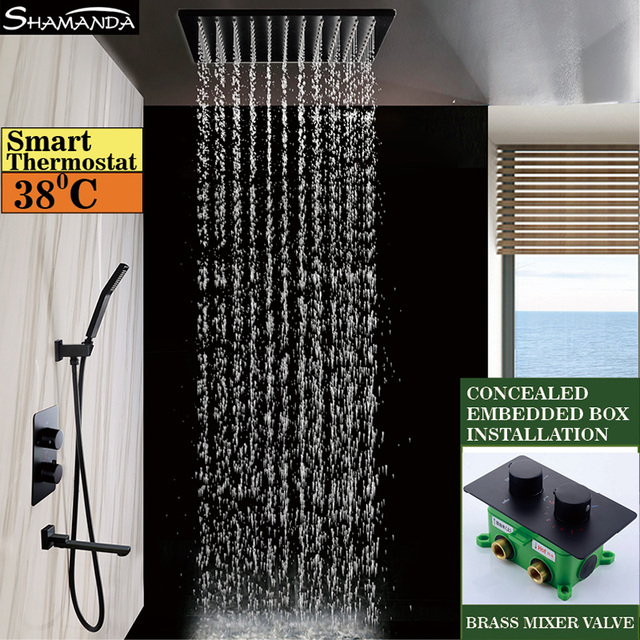 Solid Brass Wall Mounted Black Thermostatic Shower Set 3 Functions Embedded  Box Handheld With 8/