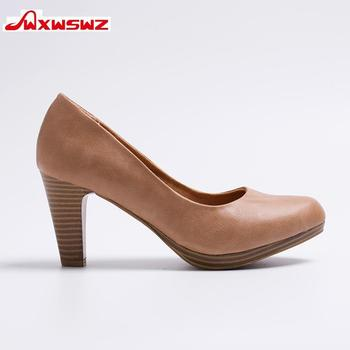 WXWSWZ 2018 New  Women Med Heels  High Quality Shoes Classic Pumps Shoes for Office Ladies Shoes European size36-41 Women shoes