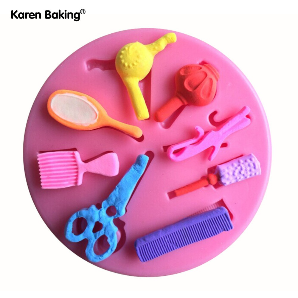 Sticking Cake Decorations On Fondant : Beautiful Hair Dressing Tools Shape Silicone 3D Mold ...
