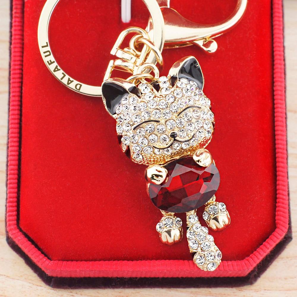 Lucky Smile Cat Crystal Rhinestone võtmehoidjad võtmehoidjad hoidja - Mood ehteid - Foto 2