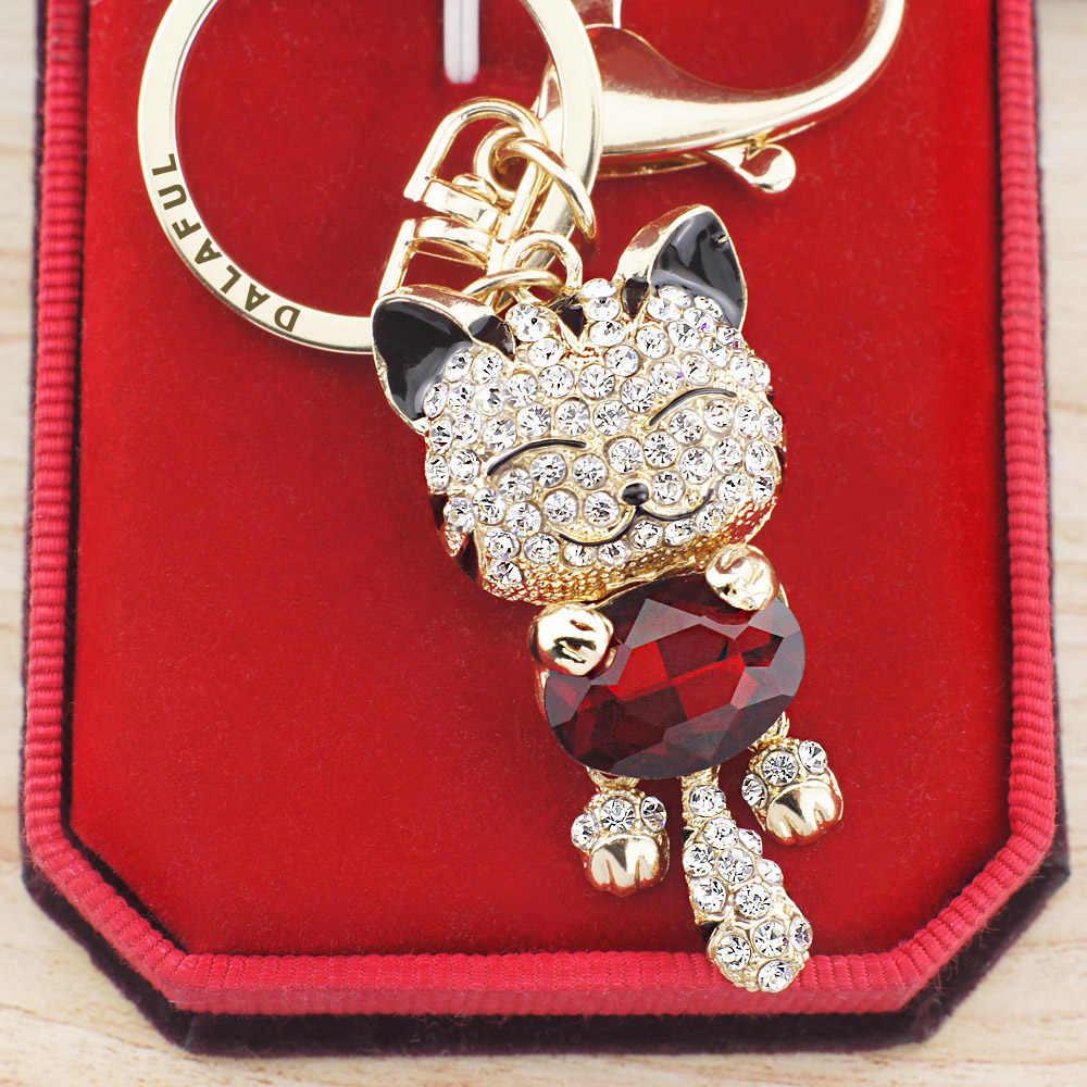 Lucky улыбающегося кота Кристалл Брелоки для ключей со стразами Брелки держатель кошелек сумка для автомобилей Рождественский подарок брелок ювелирный llaveros K218