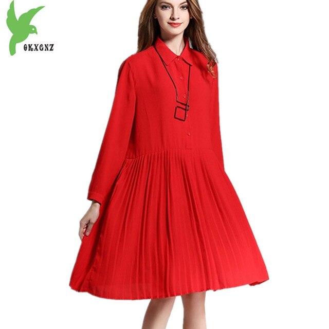New Womens Summer Chiffon Dress Plus Size Pleated Dress Shirt