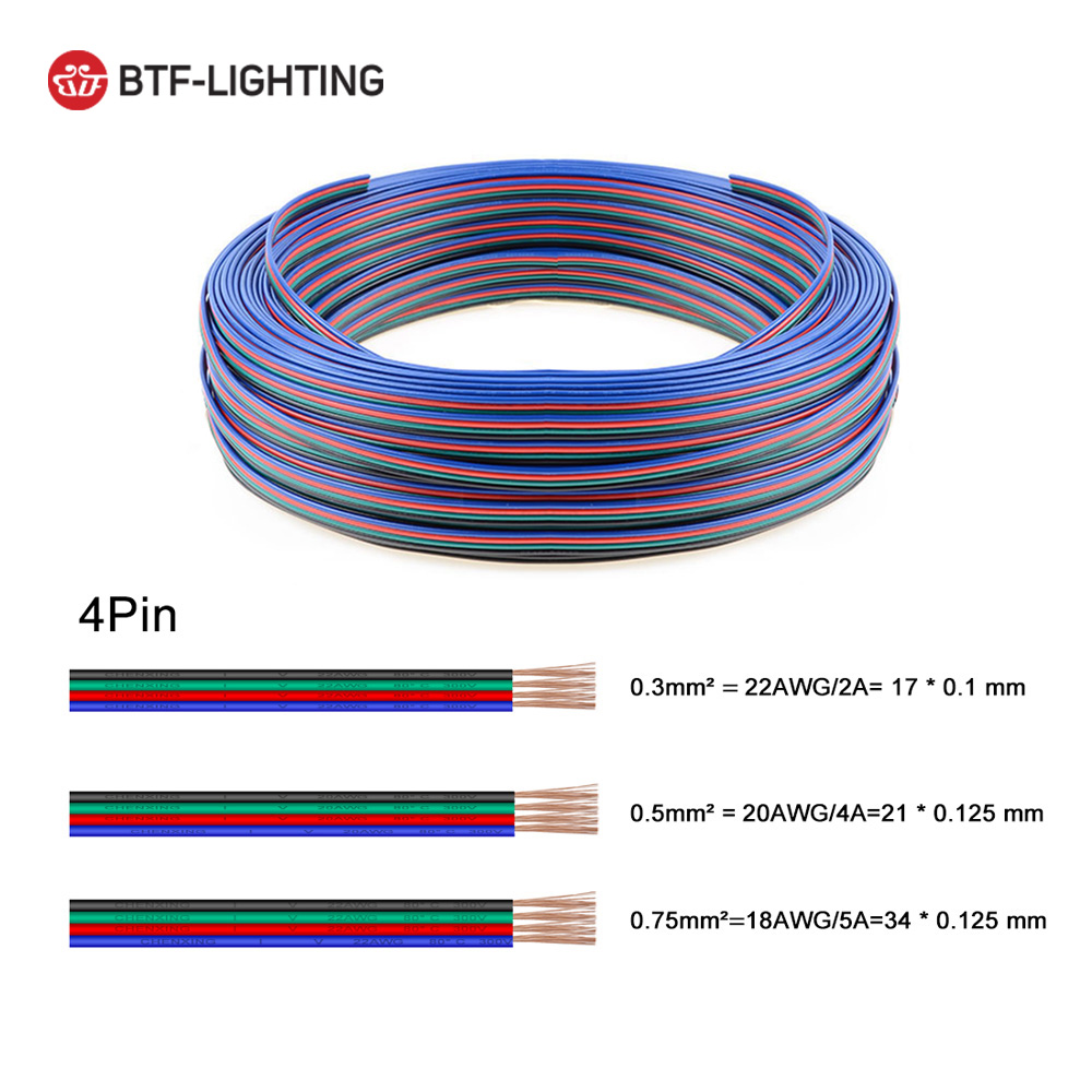 10m/20m 2PIN/<font><b>3PIN</b></font>/4PIN/5PIN 22AWG/20AWG/18AWG Led Extension Cable <font><b>Wire</b></font> for LED Lighting image