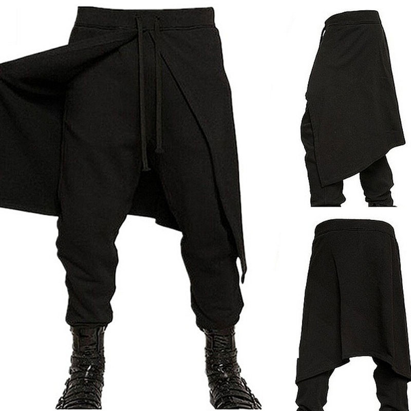 2019 Plus Size Xxxl Medieval Costume For Men Western Style Spliced Loose Pants Gothic Fashion Pant
