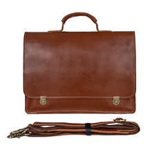14 Laptop Briefcase Bags Cow Leather Men Brown Business Travel Vintage Casual Fashion File Handbags Genuine