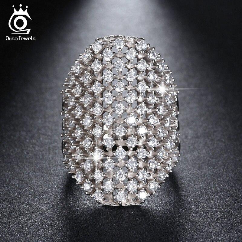 ORSA JEWELS modni srebrni barvni obročki za ženske z 82 deli prozorni kubični cirkonij rose zlato barvni prstni prstan OR92