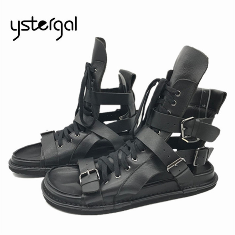 YSTERGAL Punk Style Black Men Summer Genuine Leather Sandals Casual Flat Shoes Roman Gladiator Sandals Mens Flats Beach Shoes mabaiwan fashion summer style men sandals casual shoes roman gladiator black mans footwear flats beach shoes sandalias hombres