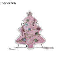 Nanafree 2018 New Hot Sale Women Shoulder Bag European Fashion Cute 3D Christmas Tree Shoulder Bags