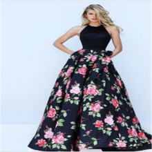 2018 New Women Summer Dress Elegant Ladies Vintage Black Halter Backless Sleeveless Long Maxi Dress Floral Print A -Line Dress