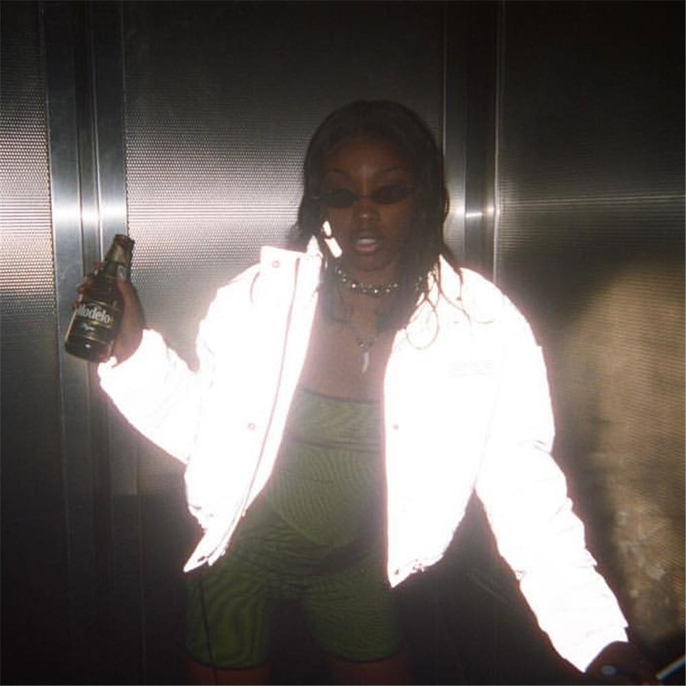HTB1 0e4XjzuK1Rjy0Fpq6yEpFXa8 Women Oversized Cotton Cropped Jacket Fashion Winter Thick Pullover Night Reflection Coat Ins Female Warm Loose Zipper Outwear