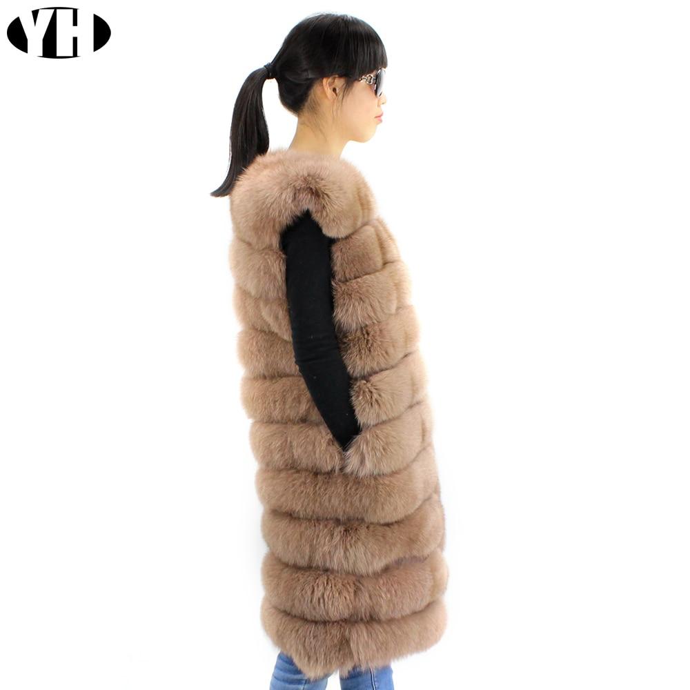 De Gilet Rea Long Femmes khaki Fox Femme Fourrure Pelt Naturel Pleine Hiver Grey Renard Vêtements black 100 Manteau wtqHXw5