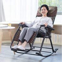 A1Senior Rocking Chair High Back Armchair with Headrest for Elderly Portable Chaise Lounge Versatile Garden/Outdoor Furniture