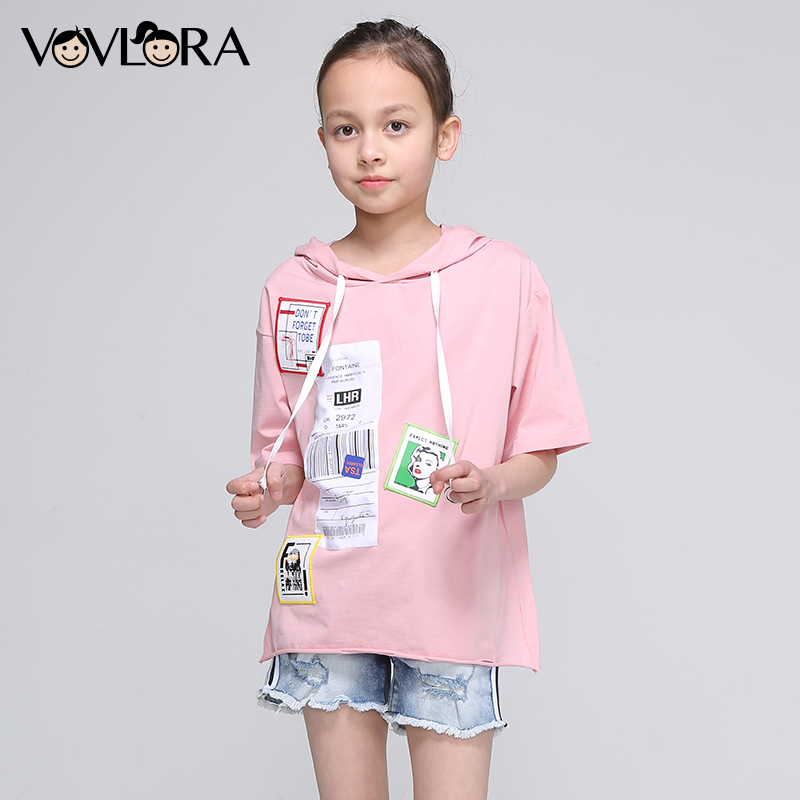Girls Summer T Shirts Hooded Tops Cotton Kids Fashion T Shirt Half Sleeve Print Children Clothing Size 9 10 11 12 13 14 Years