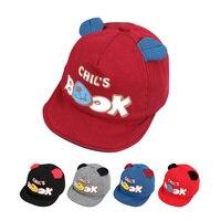 Cute Baby Cap Bear Ears Kids Hat Cotton Soft Boys Sun Cap Solid Letter Girls Hat