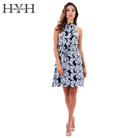 HYH HAOYIHUI Boho Flower Printed Sleeveless Halter Dress Casual Belt Sashes Women Vestidos Summer Beach Slim