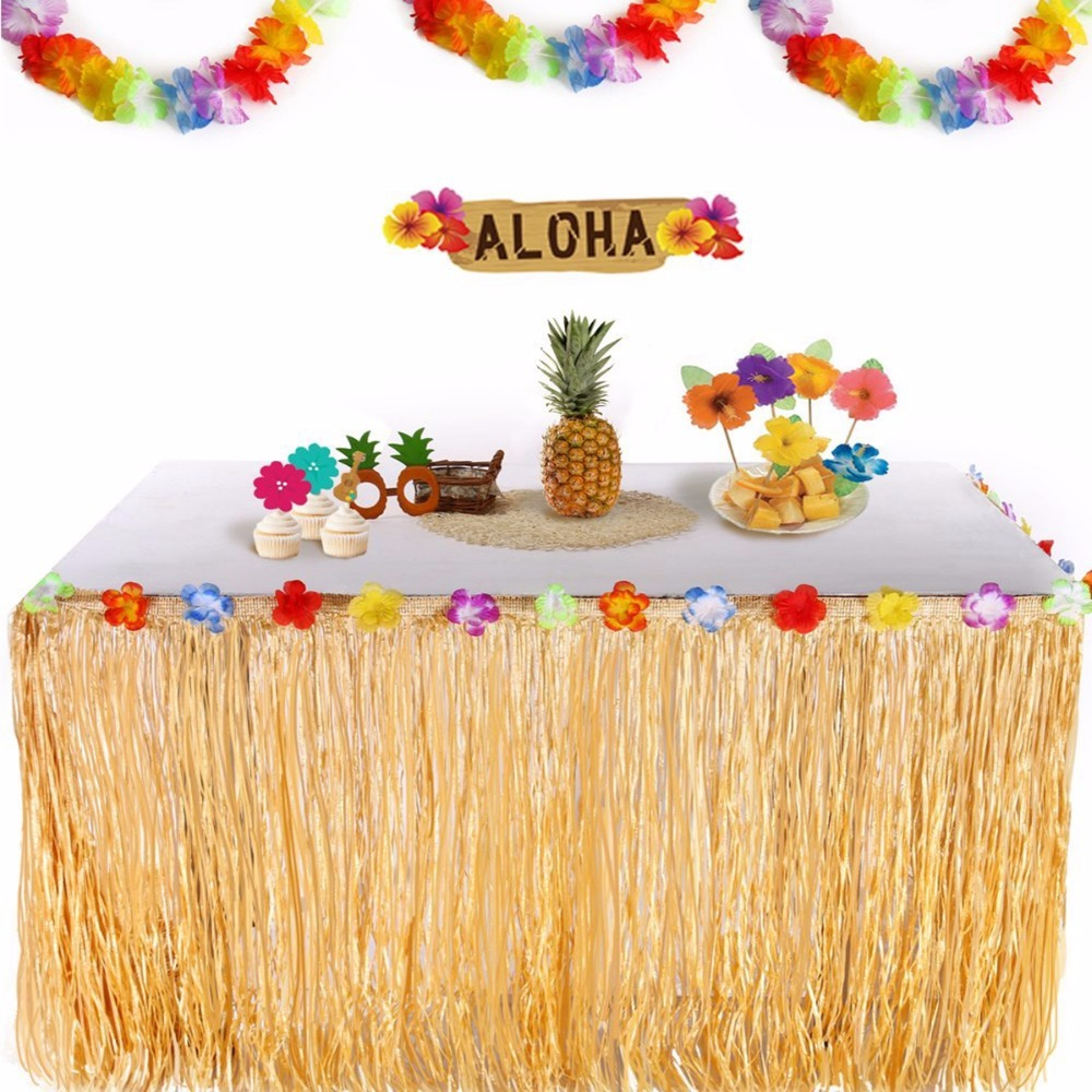 FENGRISE Colorful Flowers Artificial Grass Table Skirt Hawaiian Party  Decoration Luau Wedding Party Event Table Decor Supplies Party DIY  Decorations  - AliExpress