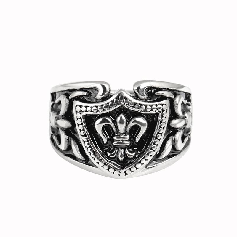 Men Women Vintage Antique Silver Stainless Steel Shield Shape Rings European Fashion Retro Jewelry Finger Ring 8-11 IDY012