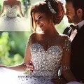 Vestido de Noiva 2015 de moda cristal perlas manga larga bola Vestido de novia de la boda vestidos de la mujer Robe de Mariee