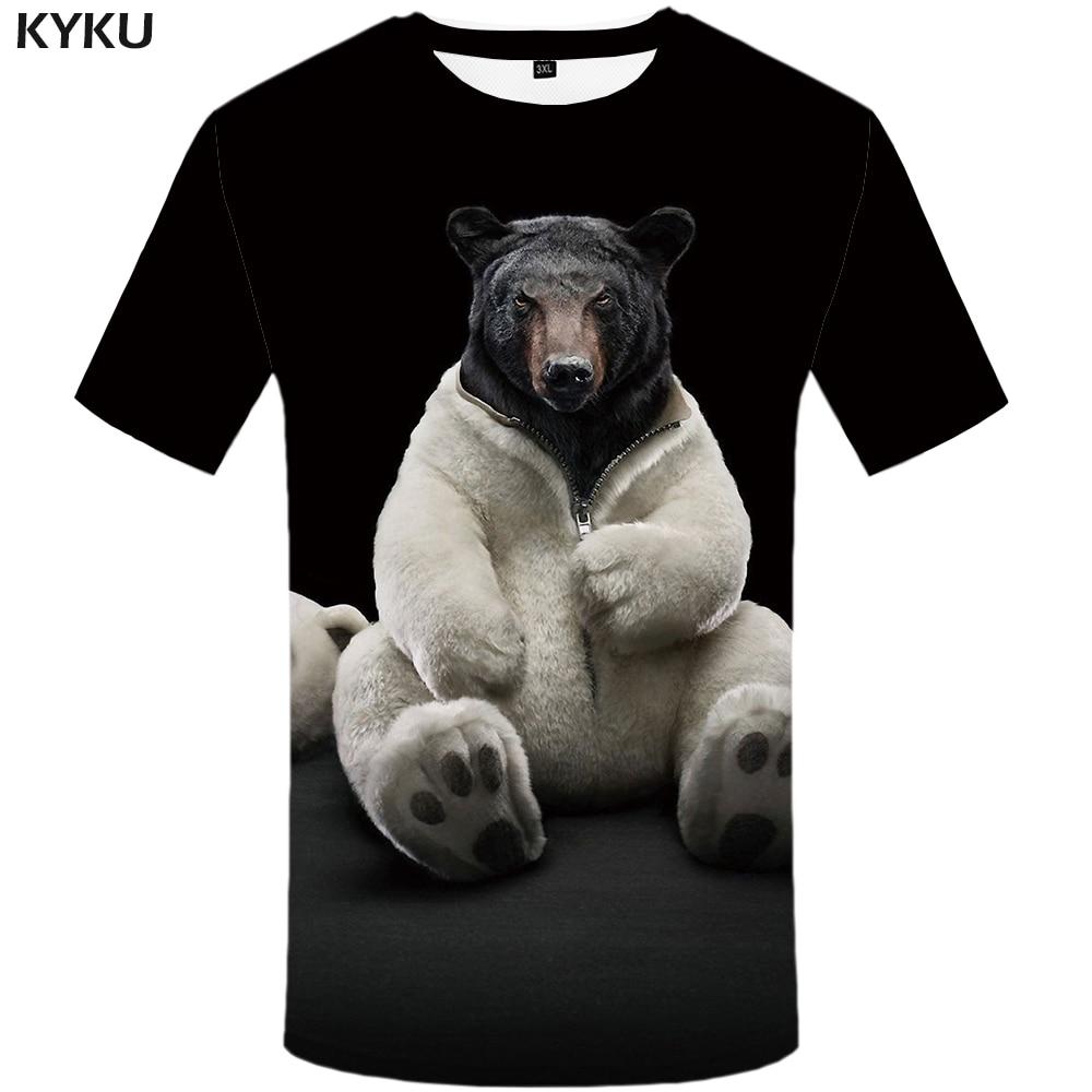 Мужская футболка с принтом KYKU, летняя черная футболка с 3D-рисунком медведя, в стиле панк-рок