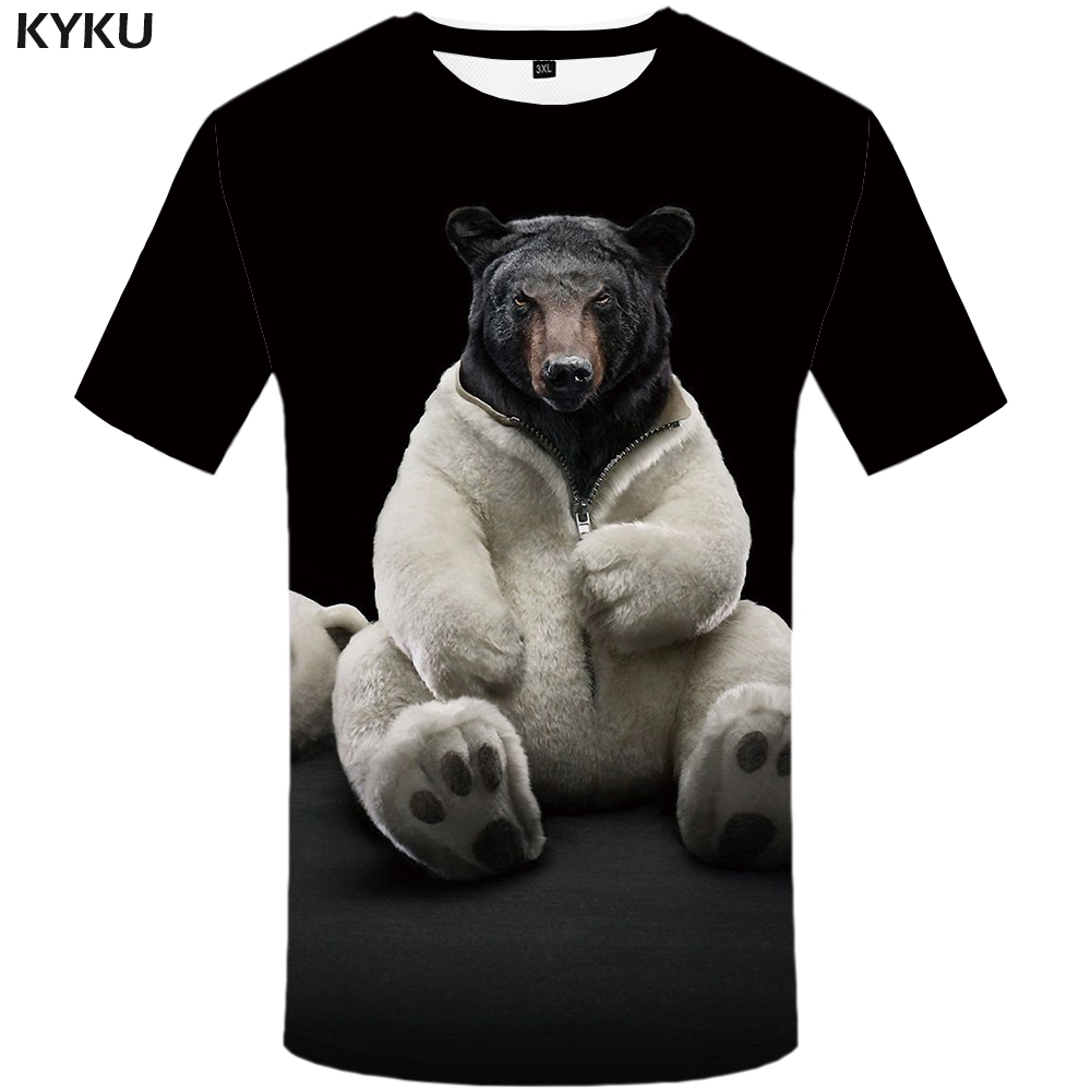 KYKU Bear Tshirt Men Animal T Shirt Punk Rock Funny T Shirts Hip Hop Tee 3d T-shirt Black Cool Mens Clothing Summer 2018 New