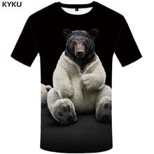 KYKU Bear Tshirt Men Animal T Shirt Punk Rock Funny T Shirts Hip Hop Tee 3d T-shirt Black Cool Mens Clothing Summer 2018 New