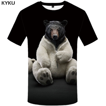 KYKU Bear Tshirt Men Animal T Shirt Punk Rock Funny T Shirts Hip Hop Tee 3d T-shirt Black Cool Mens Clothing Summer 2018 New kyku indians tshirt men white feather t shirt hip hop anime clothes character 3d print t shirt punk rock mens clothing summer