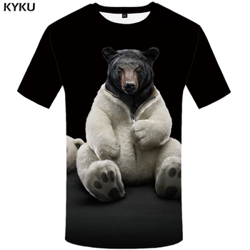KYKU niedźwiedź Tshirt mężczyźni zwierząt T Shirt Punk Rock śmieszne koszulki z krótkim rękawem Hip Hop Tee 3d T-shirt czarny fajne odzież męska lato 2018 nowy