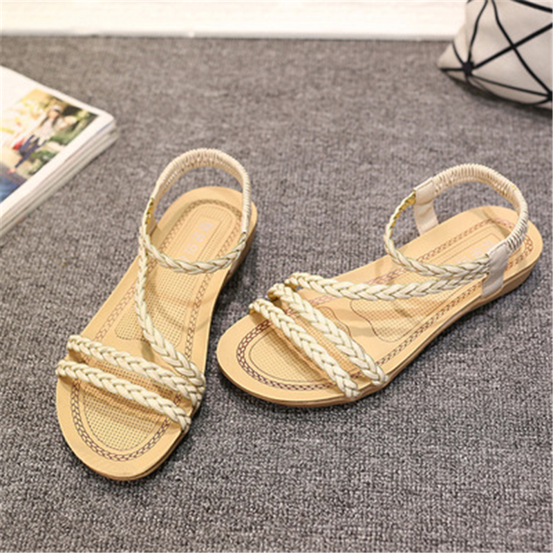 women shoes bohemian beaded women <font><b>flat</b></font> <font><b>sandals</b></font> women toe brand quality <font><b>sexy</b></font> <font><b>sandals</b></font> fashion ladies shoes size image