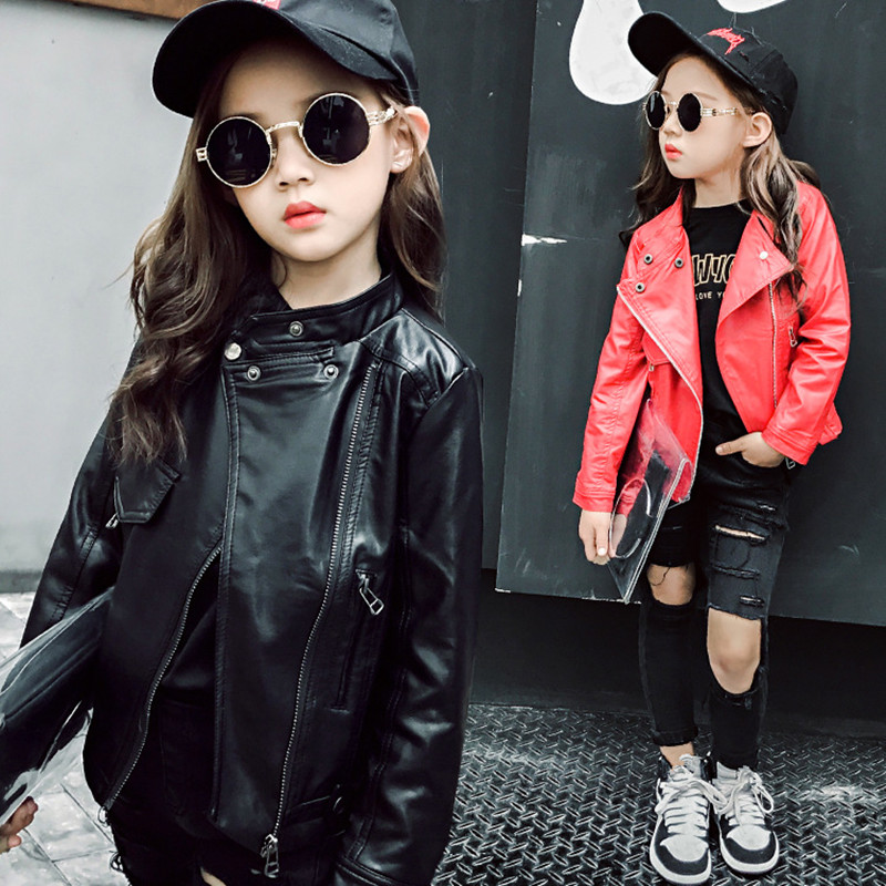 Spring & Autumn Fashion Kids Leather Jacket Girls PU Jacket Children Leather Outwear For Girl Baby Girl Jackets and Coats 4~12 T недорого