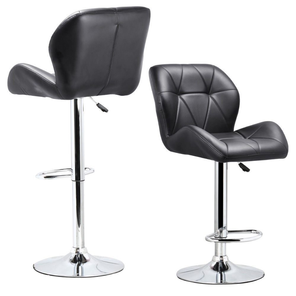 HOT GCZW-Set Of 2 Adjustable Swivel Bar Stool PU Leather Hydraulic Lift Dinning Chair