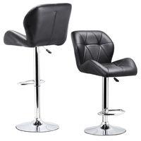 HOT GCZW Set Of 2 Adjustable Swivel Bar Stool PU Leather Hydraulic Lift Dinning Chair