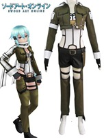 Free Shipping Sword Art Online Phantom Bullet Sinon Gun Gale Online Uniform Anime Cosplay Costume(hairpins included)