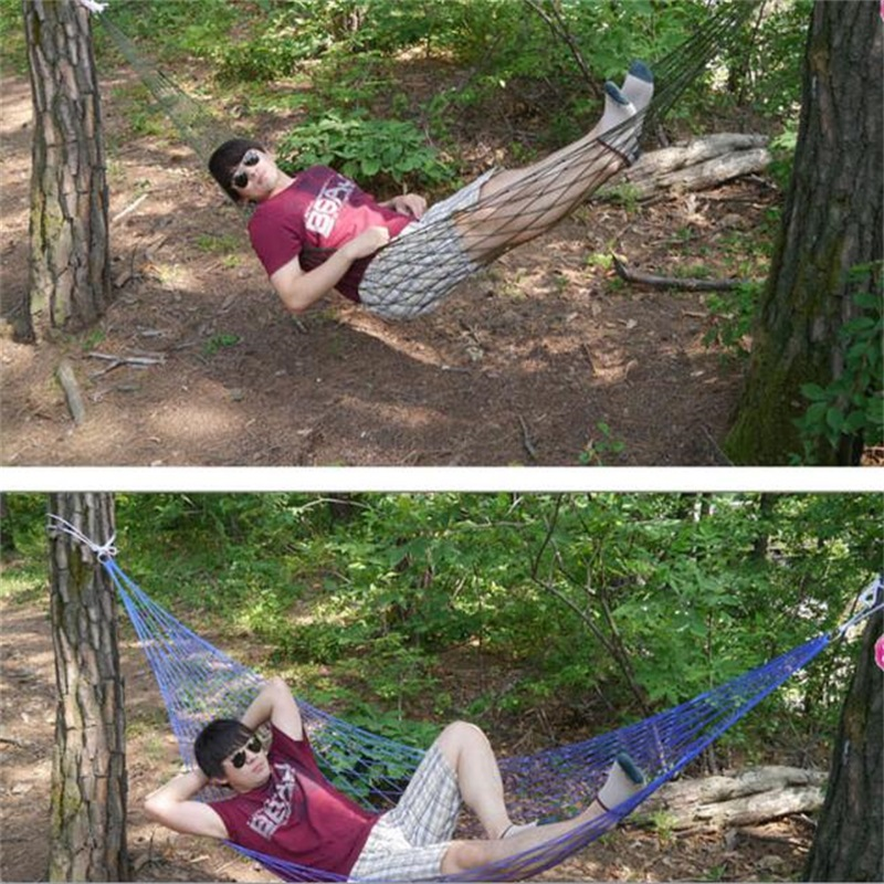 Good 200*80CM Portable Tree Hanging Hammock Garden Nylon Swing Chair Outdoor  Camping Meshy Hammock