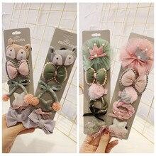 58b072abdb909 5pcs card Baby Girls Sweet Hair Accessories Kids School Children Pink  Flower Swan Headbands Hairpins Set Infants Gift Headwear