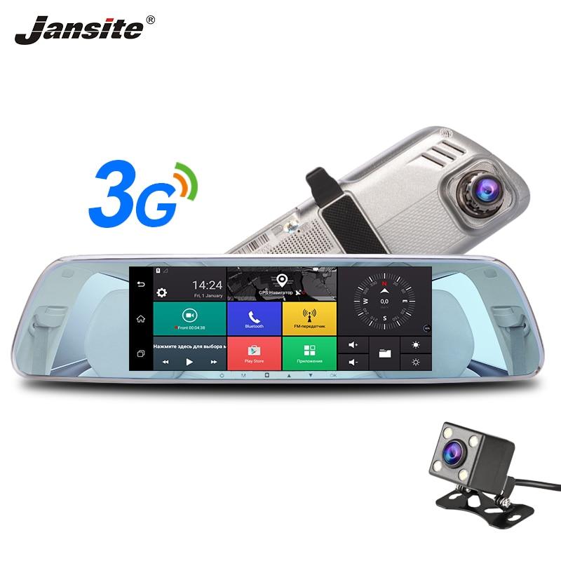 Jansite 3g Автомобильный dvr 7 сенсорный экран Dash cam Android 5,0 gps навигация HD рекордер двойная камера заднего вида камера объектив автомобиля зеркало