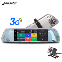 Jansite 3g Автомобильный dvr 7 «сенсорный экран Dash cam Android 5,0 gps навигация hd-рекордер двойная камера заднего вида камера объектив автомобиля зеркало