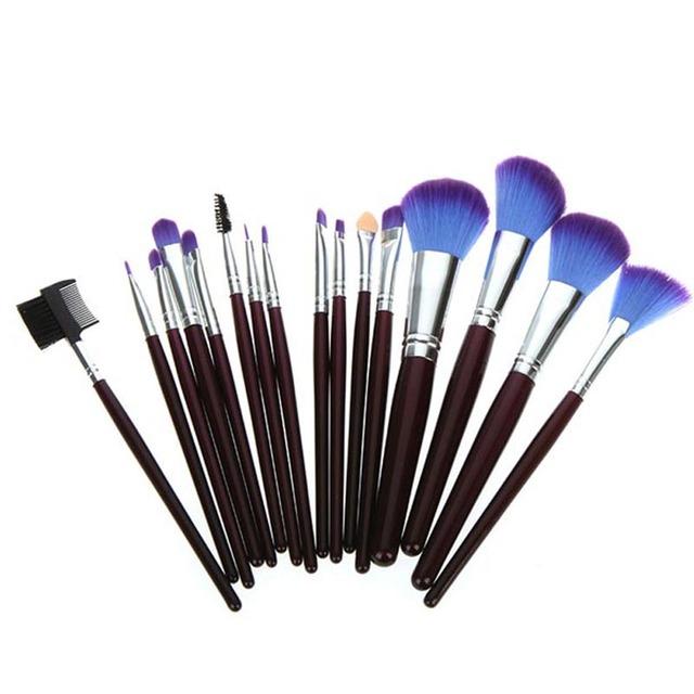 Profesional 16 unids maquillaje cepillos cosméticos maquillaje cepillo conjunto Toos con funda de cuero púrpura, envío gratis