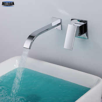 Quality brass bathroom wall mounted waterfall faucet thickening chrome plated bathroom mixer sink faucet hot and cold water tap - DISCOUNT ITEM  15% OFF All Category