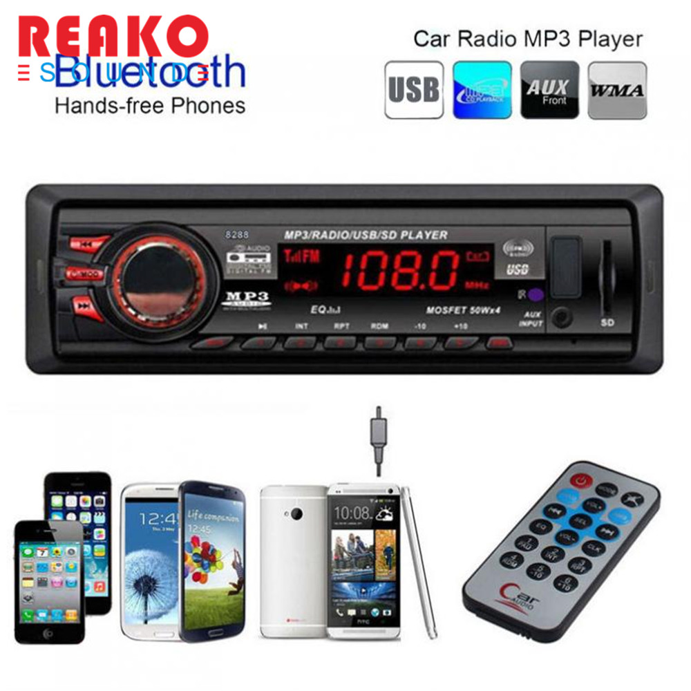 REAKOSOUND Bluetooth Car Stereo Audio Hands free In-Dash FM Aux Input Receiver SD USB MP3 Radio Player  Support 5V charging rs 1010bt car bluetooth hands free stereo mp3 player