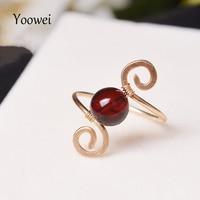Yoowei 8mm Amber Rings for Women Girl diy Cherry Round Beads Handmade Stunning Ring Dainty Genuine Natural Amber Jewelry Anillos