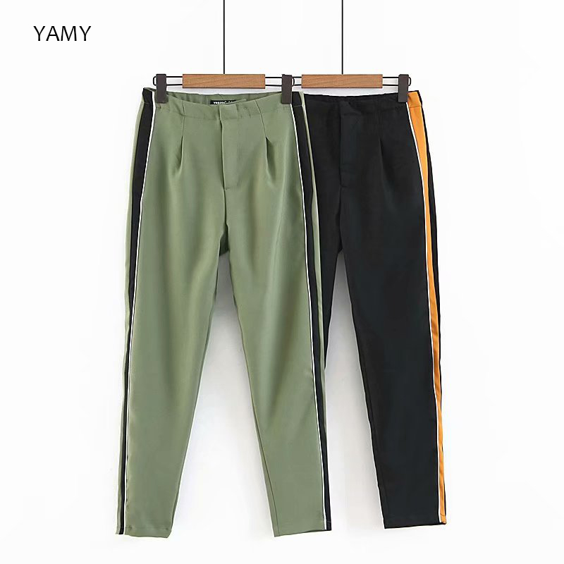 Korean Fashion Womens Causal   Pants   Trousers elastic high waist patchwork panelled   Pants     Capris   vintage style womens office   Pants