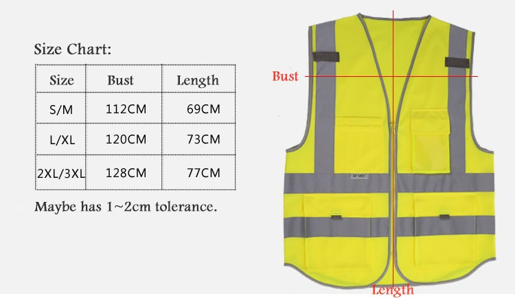 2018 Sale New Vest Material Visibility Security Safety Vest Jacket Reflective Strips Work Wear Uniforms Clothing 13