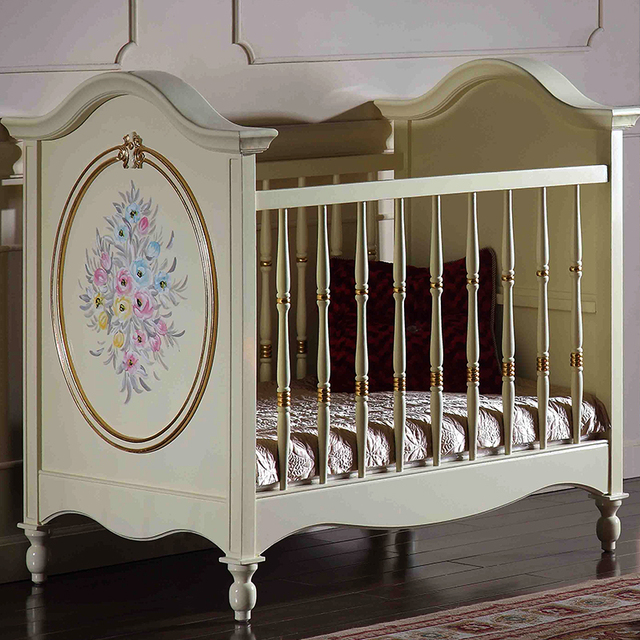 Home European Style Baby Bed, Solid Wood Ivory White Baby Bed