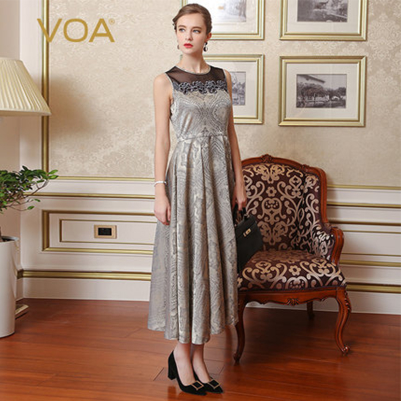 VOA Silk Jacquard Black Mesh Embroidery Party Dresses Women Retro Long Swing Dress Slim High Waist Tunic Runway Clothes A7688