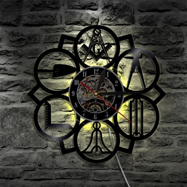 Horloge murale Logo masonique | 1 pièce, Logo maçon gratuit, enregistrement en vinyle, horloge 3D Vintage, décoration de maison, horloge murale Art fait à la main