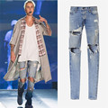 Kanye west denim jumpsuit designer clothes rockstar justin bieber ankle zipper destroyed skinny ripped jeans for men fear of god