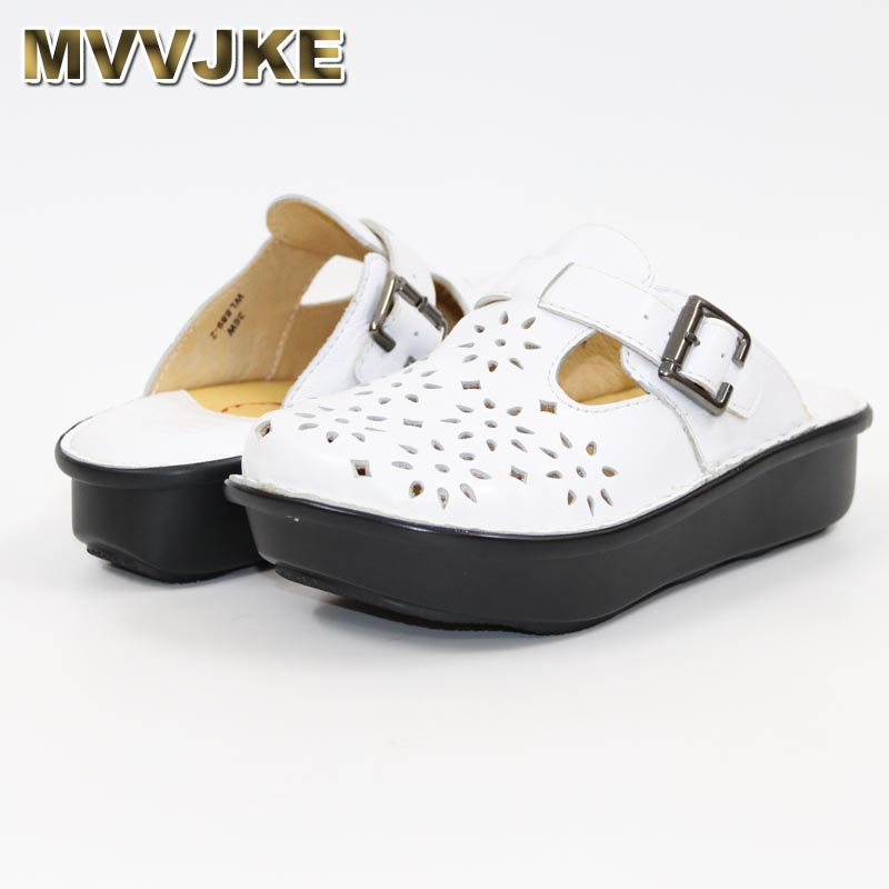 MVVJKE new bovine bottom thick hollow shoes leisure slippers Comfortable women s shoes