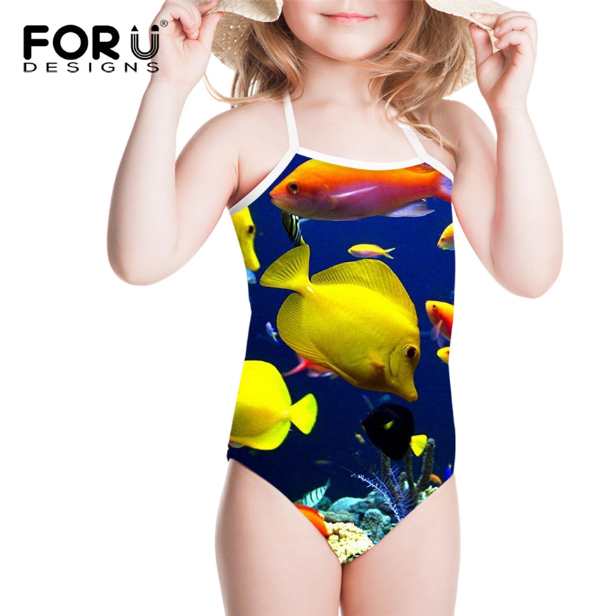 91f523587a3 FORUDESIGNS Children Swimsuits for Girls Fish Shark Dolphin Printing Kids One  Piece Swimwear Bathing Suit for Summer Beach Wear -in Children's One-Piece  ...