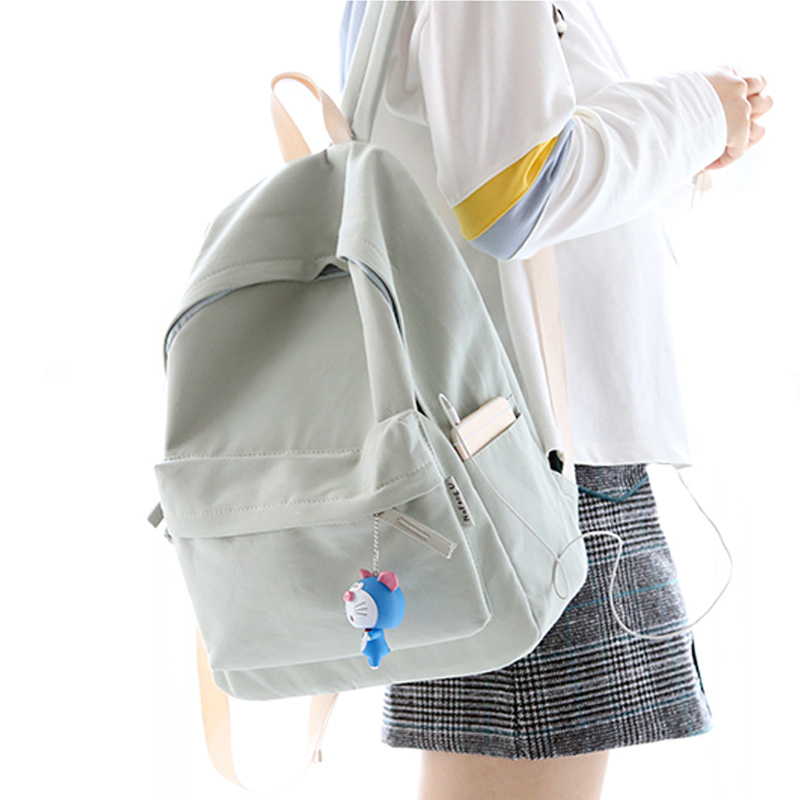 NuFangU  fresh design solid color canvas women backpack fashion girls leisure bag school student book bag leisure travel bag pretty style pure color canvas women backpack college student school book bag leisure backpack travel bag