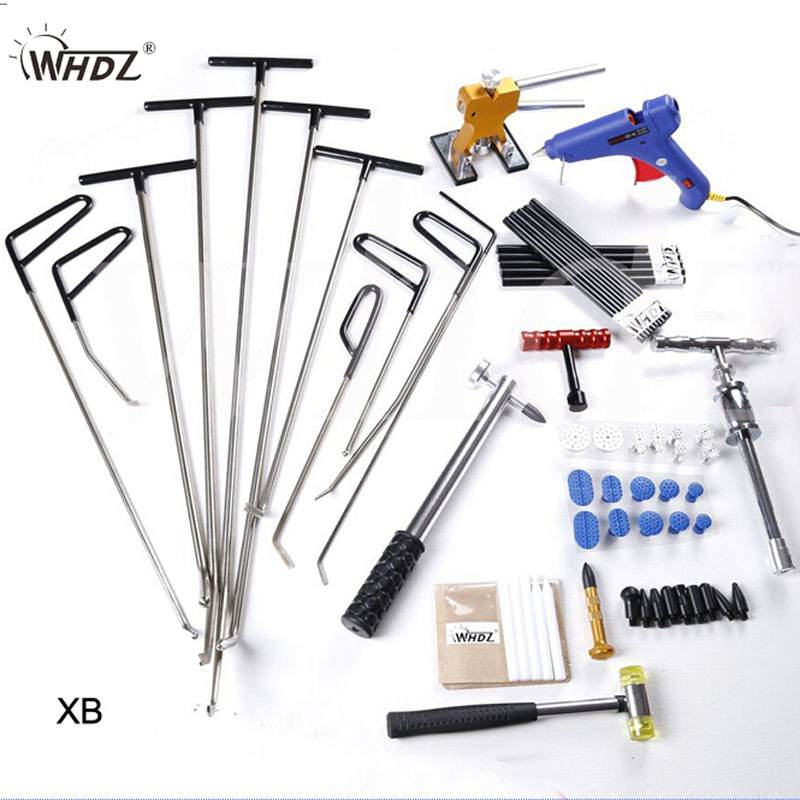 WHDZ Auto Body Dent Removal Pdr Rod Tool Kit -PDR Slide Hammer Gule Gun Dent Hammer Tap Down Handle Lifter Car Dent Repair Tools pdr dent lifter removal hand tools slide hammer sl 005
